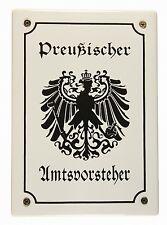 Emaille Schild Preußischer Amtsvorsteher Preussen Emailleschild 17x12cm neu