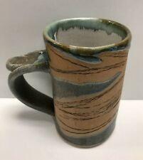 Ceramic Artisan Mug Handcrafted By Local Potter Leaf Design Tea Coffee Cup 03A
