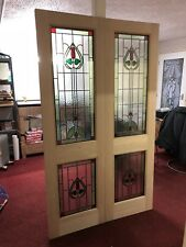 ( Brand New ) Stained Glass External Double Doors (Hemlock)