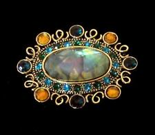 Monet Pin gold and green color rhinestones