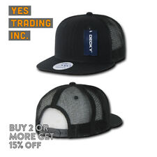 DECKY 6 Panel FLAT Bill Trucker Hats Hat Cap Snap-back Cotton Mesh Plain 1052