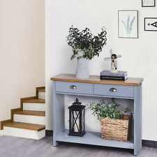 2-Drawer Console Table w/ Bottom Shelf Retro Style Hallway Living Room Furniture