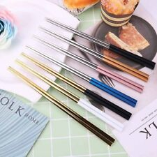 1 Pair Home Luxury Reusable Non-slip Chopsticks Stainless Steel Chinese Gifts