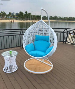 Brand New * Outdoor Swing Trapeze Wicker Rattan Hanging Pod Egg Chair * White-L