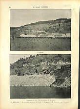La Grand-Combe PUITS Gardon (rivière) GOUFFRE MONTAGNE FRANCE GRAVURE 1896