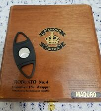 Diamond Crown Wooden Cigar Box New Style Storage with Cigar Cutter