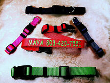 """Personalized 1"""" ,3/4 & 5/8"""" Wide, Embroidered Dog Collars Up To 24 Letters"""