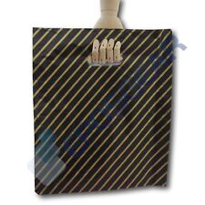 More details for 50 large black and gold striped gift shop boutique market plastic carrier bags