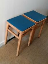 Pair vintage Wooden bar stools kitchen leatherette seat school lab  53cm high