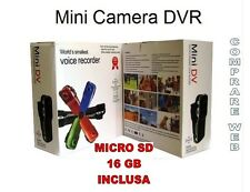 MINI VIDEOCAMERA DIGITALE DV + SD16 GB MICRO TELECAMERA SOFTAIR AUTO MOTO CASCO