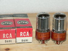 2 NIB RCA 5691 Tubes (USA RED BASE) SAME CODE-1962