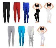 Girls Plain Leggings UK Made Viscose Elastane Children Kids Dance Ages 1-13