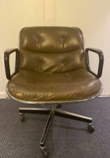 Original ca 1975 Mid Century Charles Pollock Office Chair by Knoll Brown Leather