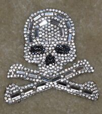 "2 3/4"" Rhinestone Iron On Hot Fix Skull Patch"