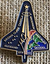 Vintage NASA Space Shuttle Mission Pin Space STS 107 Brown, Clark, Chawla- Etc.