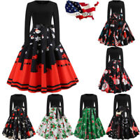Women's Vintage Print Long Sleeve Dresses Christmas Evening Party Swing Dress US
