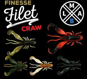 LMAB FINESSE FILET CRAW Crayfis Fishing Lures for Drop Shot Jig Head Perch lrf