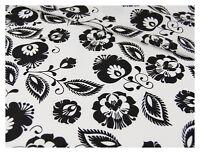 Tissu coton 100% imprimé coupon 50 x 160 cm, motif fleurs noires