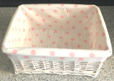 BASKET STORAGE ORGANIZER WHITE WICKER RECTANGULAR PINK POLKA DOT LINER 13 X 9 X6