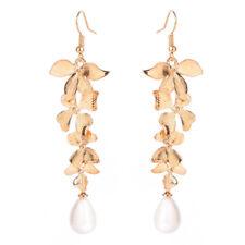 1 Pair Elegant Gold Orchid Matte Gold Flower Long Dangle Hook Earrings Popular