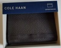 Cole Haan Men's Pebbled Leather Slim Billfold Wallet,Chocolate Brown, NEW w/Box