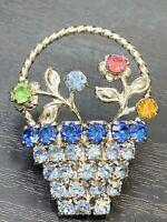 "Vintage Pin Brooch Nice Prong Set Rhinestone Pastel flower basket 1.5"" Tall"