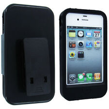 Black Hybrid Case Cover and Holster Combo with Clip and Stand for iPhone 4 / 4S