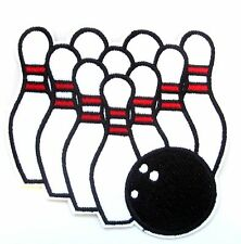 Ten Pin Bowling Iron On Patch- Sports Applique Badge Embroidered Crafts