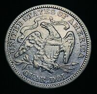 1876 Seated Liberty Quarter 25C High Grade Details DIE CRACK Silver Coin CC3125
