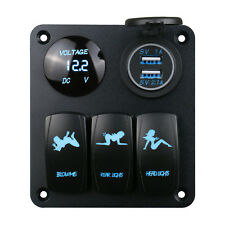 3Gang LED Schaltpanel Schalter Schalttafel Voltmeter USB12V/24V für Bus Boot