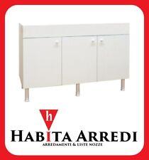 Mobile Sottolavello per Cucina 120 Bianco 3 Ante Abb. Lavello Vasche Destre
