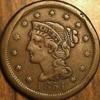 1851 US LARGE CENT BRAIDED HAIR UNITED STATES PENNY COIN