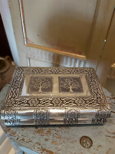 INDIAN SILVER EMBOSSED METAL TREE OF LIFE BOOK JEWELLERY BOX