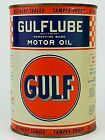 Gulflube Motor Oil Checkerboard Gulf Can 1 Qt. Paraffine Base Unopened Full Can