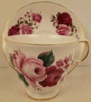 Queen Anne 8523 Tea Cup and Saucer Bone China Red Pink Roses England