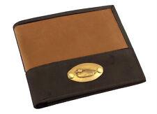 Cuero marrón y placa de Pato de Cuero Tostado Cartera Plegable