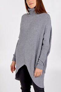 Made In Italy Roll Neck Jumper Dress Mid Grey