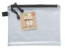 4 x ECO-ECO A5 90% riciclato doppia tasca con cerniera Borsa Forte Chiaro Mesh TUFF caso