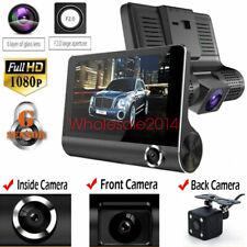 "4"" 3 Lens Dash Cam Rear View 170° Parking Video Recorder Car DVR Camera Black US"