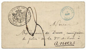 Belgium Embassy at Paris 1845 letter via Brussels to Anvers postage paid