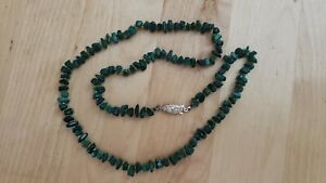 """Collectible HAND CRAFTED MALACHITE STONE NECKLACE 21"""" LONG"""