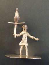 SILVER MINIATURE MODEL OF A MAN WITH A HAWK