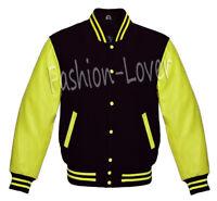 Varsity Letterman Jacket In Black Wool and Yellow Genuine Leather Sleeves