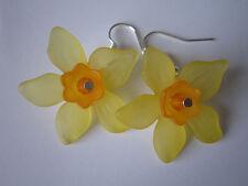 GOCCIA / PENDENTI ORECCHINI-Narciso-fiori gialli-SILVER PLATED