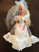 Vintage 1966 Barbie Twist And Turn Wedding Dress With Veil With Clothing Lot