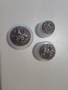 "Trachtenknöpfe ""Edelweiß"", Metall altsilber,  wahlweise 15 - 19 - 23 mm"