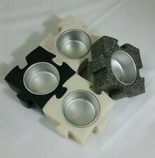 Partylite stone puzzle pieces tealight holders, can be displayed in multi ways