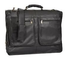 Real Leather Suit Garment Carrier Travel Weekend Bag With Strap CANICO Black NEW