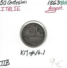 ITALIE - 50 CENTESIMI - 1863 MBN - Pièce de Monnaie en argent // Qualité: TTB