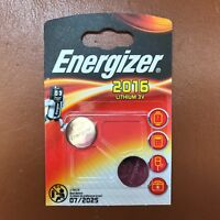 2 X Energizer CR2016 3V Lithium Coin Cell Batteries LONGEST EXPIRY - Pack of 2